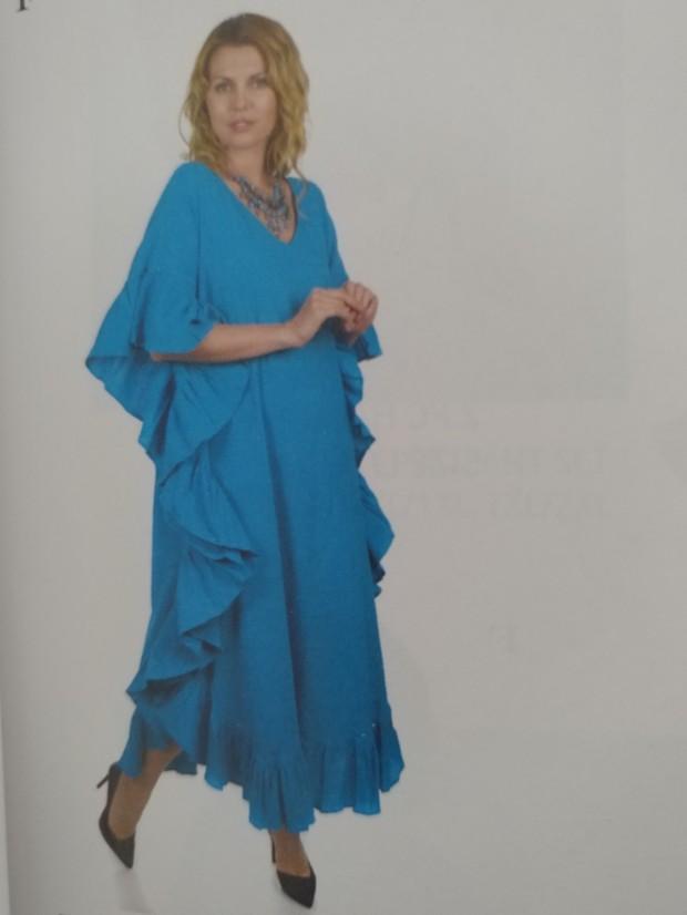 Ruffle Gauze Caftan Blue