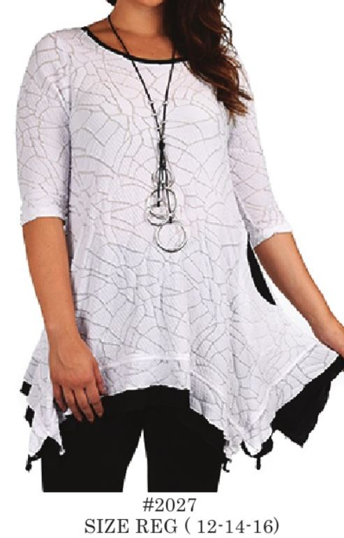 Black_White Cross Cut Top